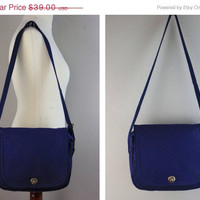 ON SALE Vintage Lands' End Blue Canvas Messenger Bag