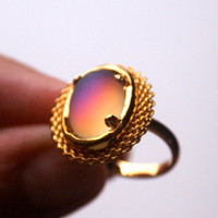 Oval Ring Iridescent Czech Glass Vintage Adjustable Band in Gold Tone