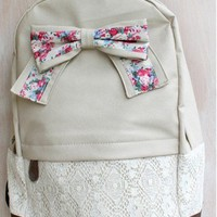 Fashion Lace with Red Floral Bow Backpack-light-cream