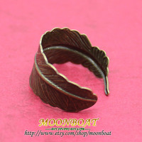 Brass Feather Adjustable Ring MB249 by moonboat on Etsy