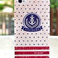 Navy Style Anchor and Stripes Case for iPhone 4/4S