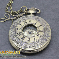 Antique Bronze Roman Numberals Pocket Watch Locket Necklace