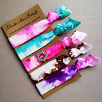 The Becca Flower Charm Tie Dye Hair Tie Collection - 5 Elastic Hair Ties by Elastic Hair Bandz on Etsy