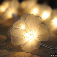 20 White floral  flower handmade string light indoor lantern hanging wedding party decoration gift