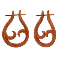 PAIR #2 Organic Sono Wood Open Leaf Design Earrings NEW
