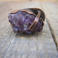 Amethyst copper ring by CopperTreeArt on Etsy