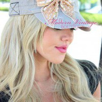 Classy Bow Sequins Hat