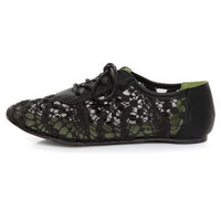 Blowfish Neat Black Crochet Oxford Flats