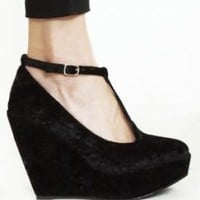 Black Suede T Strap Wedge
