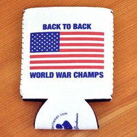 Back to Back World War Champs Koozie by Rowdy Gentleman