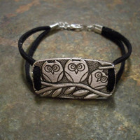 What a Hoot Owl Bracelet with Black Suede by BrandimariesBoutique