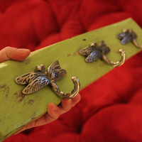 Dragonfly Reclaimed Wood Coat Rack Jewelry Holder by MissMacie