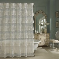 Priscilla Lace Shower Curtain - Ivory