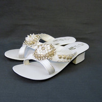 60s Sandals Vintage Mod Beaded White Mules Slides 7