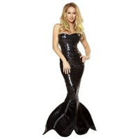 Roma Sexy Womens Black Goth Dark Mermaid Halloween Costume