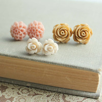 Rose Earrings Stud Earrings Ivory Rose Latte by apocketofposies