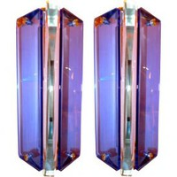 Pair of Italian Blue Glass Italian Sconces by Sena Cristal