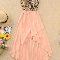 High-Low Hem Leopard Chiffon Dress for Women