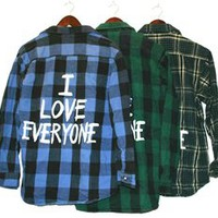 I LOVE EVERYONE Vintage Flannel Shirt COOL COLORS (One of a Kind)