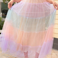 Light Rainbow Color Lace Long Dress WT612