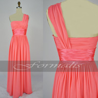 One Shoulder Long Dark Peach Chiffon Bridesmaid Dresses, Wedding Party Dresses, Formal Gown