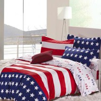 USA Stars and Stripes 100% Pure Cotton Bedding Set