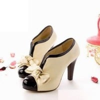 Sexy Lady Beige Bow Pump Shoes Platform Women High Heel: Amazon.com: Shoes