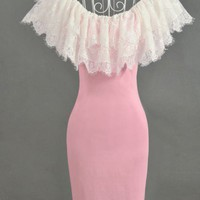 Hot sell pink lace lady dress
