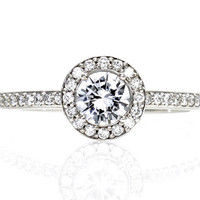 Platinum Diamond Halo Engagement Ring Custom Engagement Ring