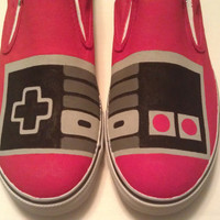 Hand Painted NES Controller Vans Slip On Shoes