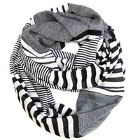 Striped Infinity Scarf, Tube Scarf, Endless Loop Scarf, Eternity Scarf, Striped Scarf, Black, White