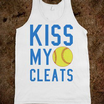 Kiss my cleats softball tank top tee t shirt-Athletic Grey Tank