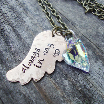 Always in my heart brass hand stamped angel wing and crystal heart necklace