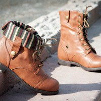 DeBlossom Cana-12A Military Lace Up Foldover Mid Calf Boot (Camel) - Shoes 4 U Las Vegas