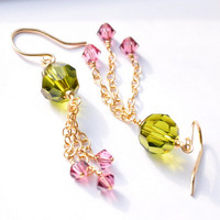 Tassel Earrings Olive Green and Pink Crystal by GueGueCreations