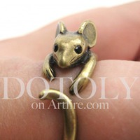 Miniature Mouse Ring in bronze - Sizes 4 to 9 Available | dotoly - Jewelry on ArtFire