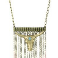 Wildfox Gold Cow Skull Chain Necklace