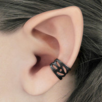 Mischief - Black Filigree Ear Cuff