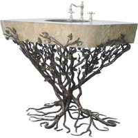 Quiescence Embracious Aspen Forest Iron Vanity with Integrated Boulder Basin