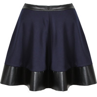 NEW WOMENS NAVY BLUE PU LEATHER TRIM SKATER SKIRT MINI PARTY HIGH WAISTED BOX
