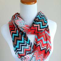 Multi color Chevron Chiffon infinity Scarf with red, black, brown coral, aqua, and white