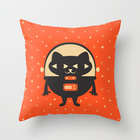 Space Kitty Throw Pillow by Goldnessie
