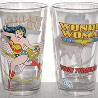 Wonder Woman Glass Toon Tumbler:Amazon:Kitchen & Dining