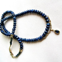 Dark Blue Sapphire and Gold Necklace