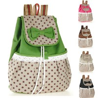 Cute Canvas Lace Bowknot Backpacks