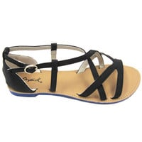 Athena Black Strappy Vegan Sandal