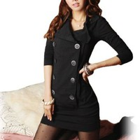 Allegra K Woman Long Sleeve Convertible Collar Buttoned Dress Black Size S:Amazon:Clothing