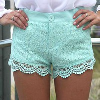 Mint Twee Lace Shorts Paisley Lace Overlay from xeniaeboutique