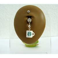 Starbucks Belly Ring - Double Gem  - Choose Sprite and Gem Color -14g