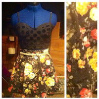 Black Floral Skirt  by AngeliqueMerici on Etsy
